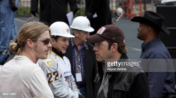 Bucky Covington Jordin Tootoo of the Nashville Predators Rodney Atkins and Cowboy Troy attend the grand reopening celebration at the Hard Rock Cafe...