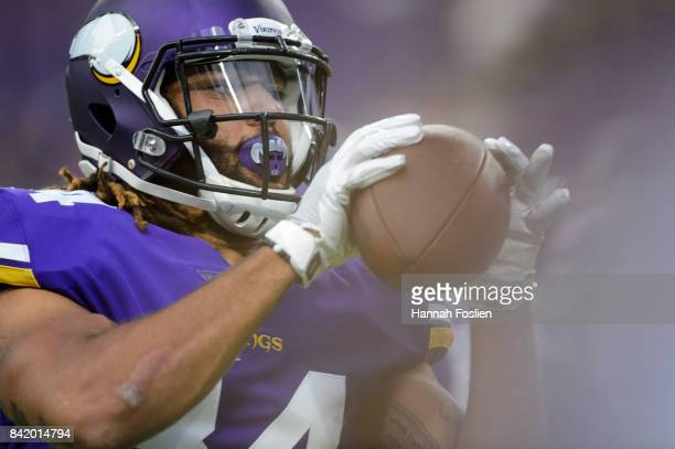 Bucky Hodges of the Minnesota Vikings warms up before the preseason game against the Miami Dolphins on August 31 2017 at US Bank Stadium in...