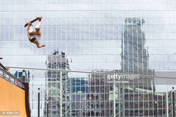 Bucky Lasek does a McTwist during skateboard vert practice during the X Games on July 13 2017 at US Bank Stadium in Minneapolis Minnesota