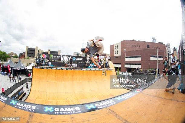 Bucky Lasek does a trick during skateboard vert practice during the X Games on July 13, 2017 at U.S. Bank Stadium in Minneapolis, Minnesota.