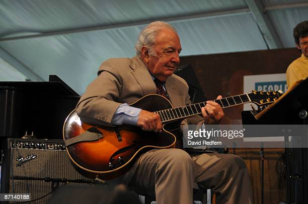 Bucky Pizzarelli performing on stage at the New Orleans Jazz Heritage Festival on April 30 2009 in New Orleans
