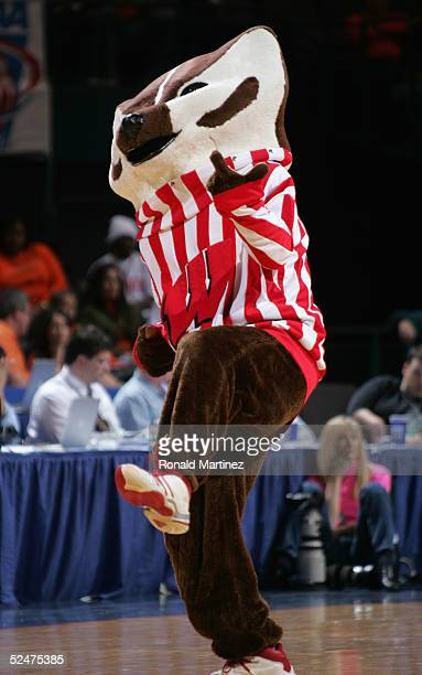 Bucky the Badger the mascot of the Wisconsin Badgers performs during a break in the game against the Bucknell Bison during the second round of the...