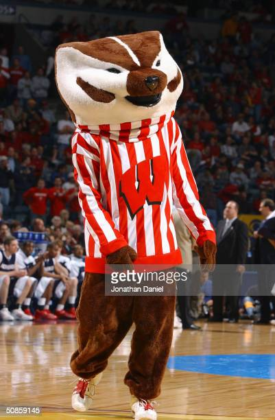 Bucky the Badger the mascot of the Wisconsin Badgers performs on the court during the first round game of the NCAA Division I Men's Basketball...