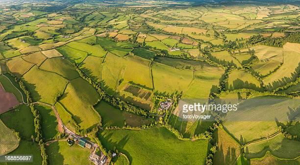 Idyllischen Mischlandschaft Sommer Felder Luftbild-panorama