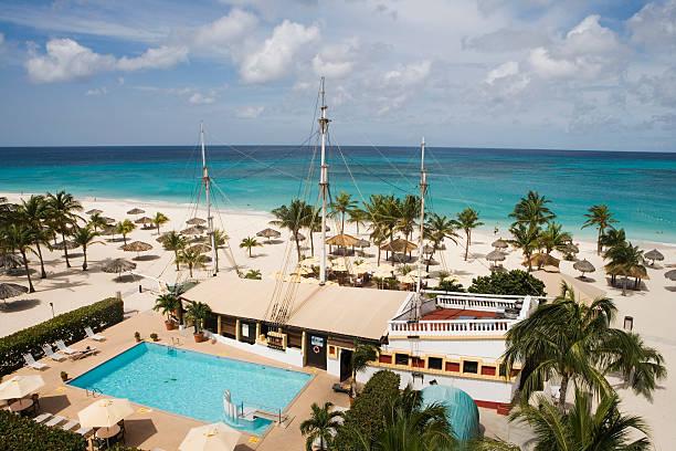 Bucuti Beach Resort pool and restaurant at Eagle Beach.