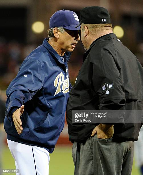 Bud Black manager of the San Diego Padres argues a call with first base umpire Wally Bell during the fifth inning of an interleague baseball game...