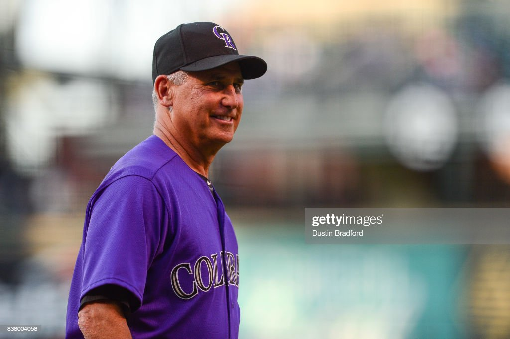 Bud Black #10 of the Colorado Rockies looks on before a game against the Milwaukee Brewers at Coors Field on August 18, 2017 in Denver, Colorado.