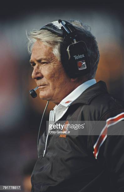 Bud Carson head coach for the Cleveland Browns during the National Football Conference West game against the San Francisco 49ers on 28 October 1990...