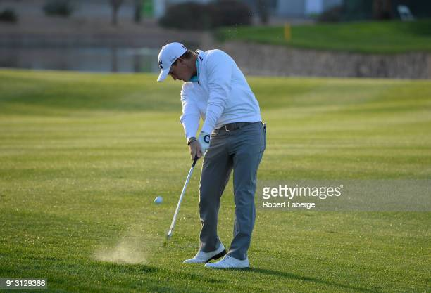 Bud Cauley hits his second shot on the 11th hole during the first round of the Waste Management Phoenix Open at TPC Scottsdale on February 1 2018 in...