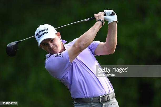 Bud Cauley hits his tee shot on the second hole during the first round of the Houston Open at the Golf Club of Houston on March 29 2018 in Humble...