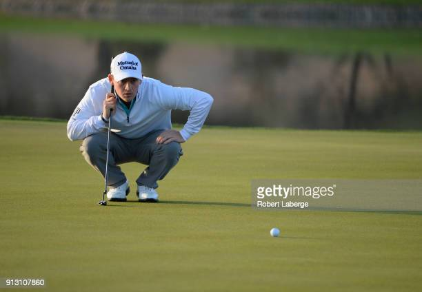Bud Cauley lines up a putt on the 11th hole during the first round of the Waste Management Phoenix Open at TPC Scottsdale on February 1 2018 in...