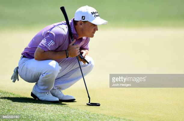 Bud Cauley lines up a putt on the 18th green during the second round of the Houston Open at the Golf Club of Houston on March 30 2018 in Humble Texas