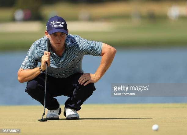 Bud Cauley lines up a putt on the sixth hole during the final round at the Arnold Palmer Invitational Presented By MasterCard at Bay Hill Club and...