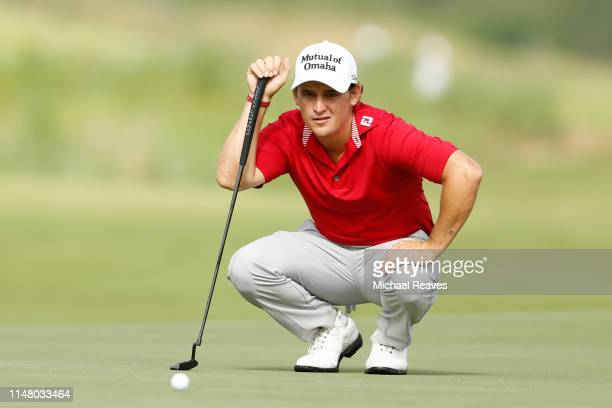 Bud Cauley of the United States looks over a putt on the 11th green during the first round of the ATT Byron Nelson at Trinity Forest Golf Club on May...