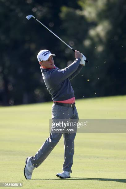 Bud Cauley of the United States plays a shot on the tenth hole during the second round of the RSM Classic at the Sea Island Golf Club Seaside Course...