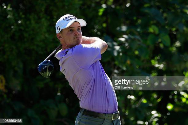 Bud Cauley of the United States plays his shot from the seventh tee during the second round of the Mayakoba Golf Classic at El Camaleon Mayakoba Golf...