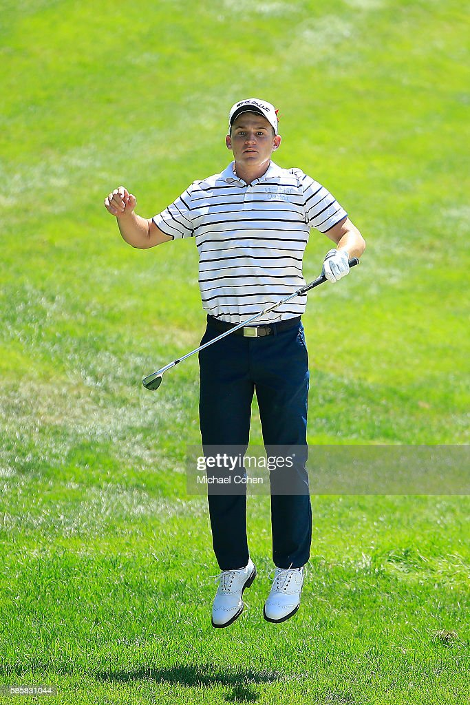 Bud Cauley of the United States reacts to his shot on the 18th hole during the first round of the travelers Championship at TPC River Highlands on August 4, 2016 in Cromwell, Connecticut.