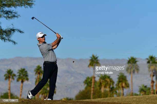 Bud Cauley of the United States tees off on the 17th hole during the third round of the Desert Classic at the Stadium Course on January 19 2019 in La...