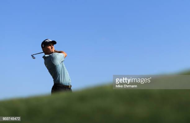 Bud Cauley plays his shot from the 14th tee during the final round at the Arnold Palmer Invitational Presented By MasterCard at Bay Hill Club and...
