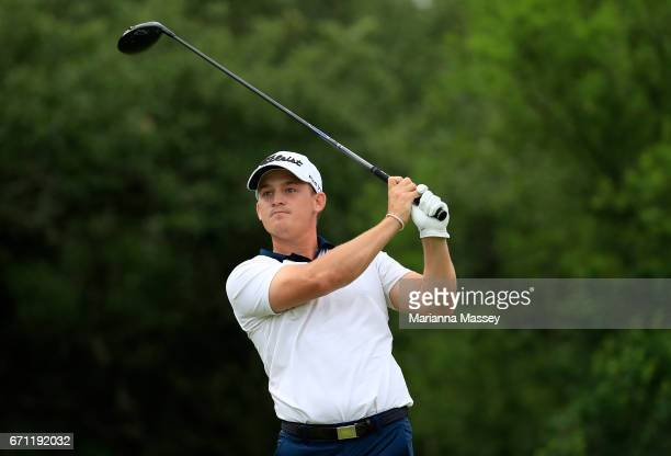 Bud Cauley plays his shot from the ninth tee during the second round of the Valero Texas Open at TPC San Antonio ATT Oaks Course on April 21 2017 in...