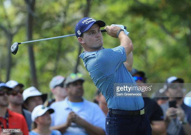 Bud Cauley plays his shot from the third tee during the final round at the Arnold Palmer Invitational Presented By MasterCard at Bay Hill Club and...