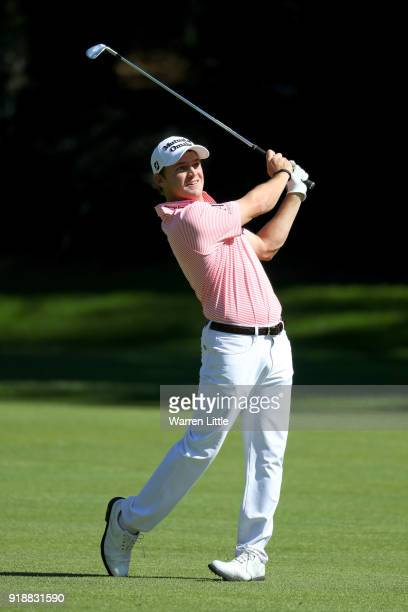 Bud Cauley plays his shot on the 12th hole during the first round of the Genesis Open at Riviera Country Club on February 15 2018 in Pacific...