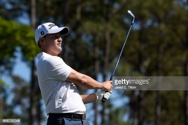 Bud Cauley plays his tee shot on the 16th hole during the first round of the 2017 RBC Heritage at Harbour Town Golf Links on April 13 2017 in Hilton...