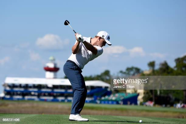 Bud Cauley plays his tee shot on the 18th hole during the first round of the 2017 RBC Heritage at Harbour Town Golf Links on April 13 2017 in Hilton...