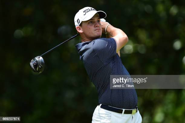 Bud Cauley plays his tee shot on the fifth hole during the final round of the 2017 RBC Heritage at Harbour Town Golf Links on April 16 2017 in Hilton...
