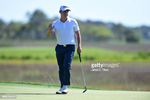Bud Cauley reacts after his birdie putt on the 18th green during the first round of the 2017 RBC Heritage at Harbour Town Golf Links on April 13 2017...