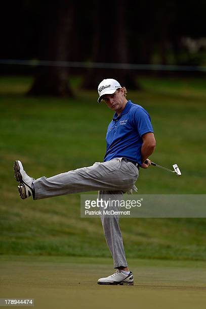Bud Cauley reacts after missing a putt for an eagle on the second green during round three of the 2013 Hotel Fitness Championship at Sycamore Hills...