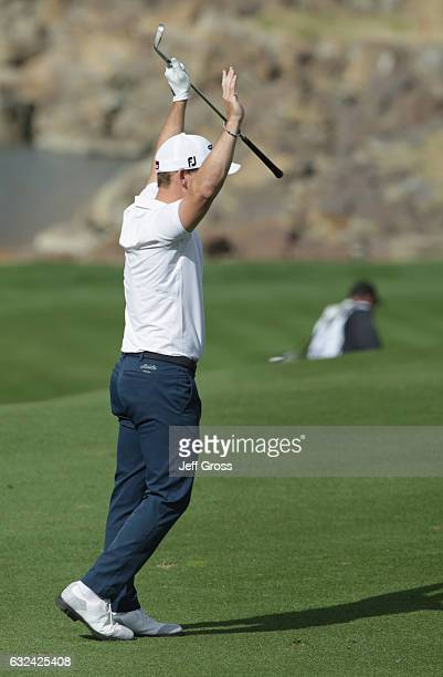 Bud Cauley reacts to his eagle on the 11th hole during the final round of the CareerBuilder Challenge in partnership with The Clinton Foundation at...