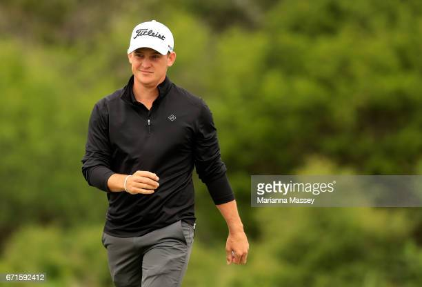 Bud Cauley reacts to his putt on the fourth hole during the third round of the Valero Texas Open at TPC San Antonio ATT Oaks Course on April 22 2017...