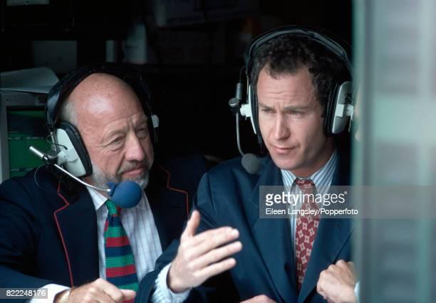 Bud Collins and John McEnroe, NBC television commentators, during the Wimbledon Lawn Tennis Championships, circa June 1993.