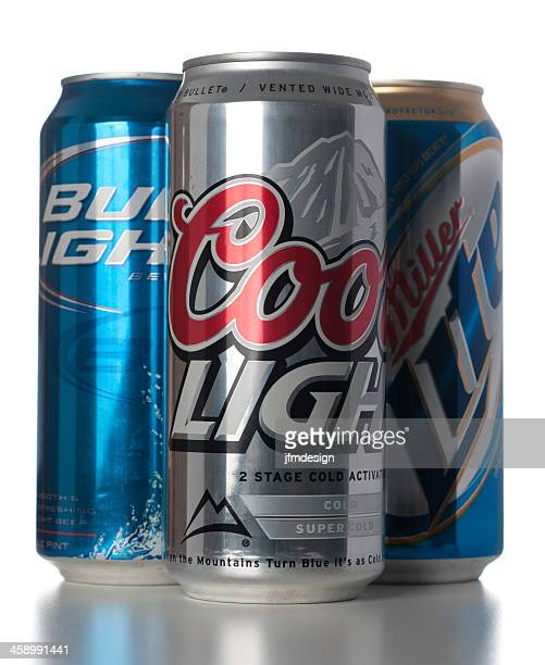 bud coors and miller 1 pint beer cans - miller lite stock pictures, royalty-free photos & images