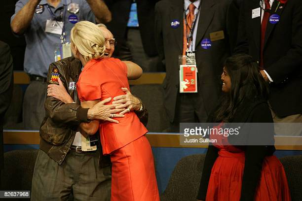 Bud Day retired US Air Force Colonel and POW cellmate hugs Cindy McCain Cindy McCain wife of presumptive Republican presidential nominee US Sen John...