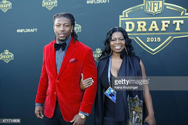 Bud Dupree from the Kentucky Wildcats arrives on the gold carpet with his mother Sophia Dupree for the first round of the 2015 NFL Draft at the...