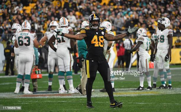 Bud Dupree of the Pittsburgh Steelers attempts to pump up the crowd in the second half during the game against the Miami Dolphins at Heinz Field on...
