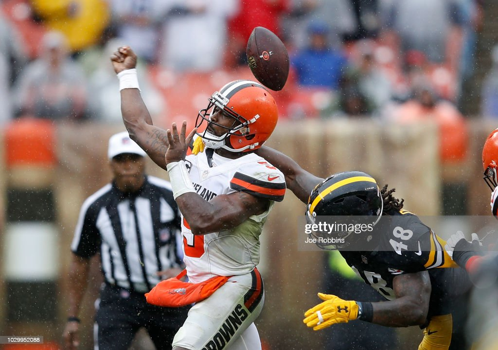 Bud Dupree #48 of the Pittsburgh Steelers breaks up a pass by Tyrod Taylor #5 of the Cleveland Browns during the second quarter at FirstEnergy Stadium on September 9, 2018 in Cleveland, Ohio.