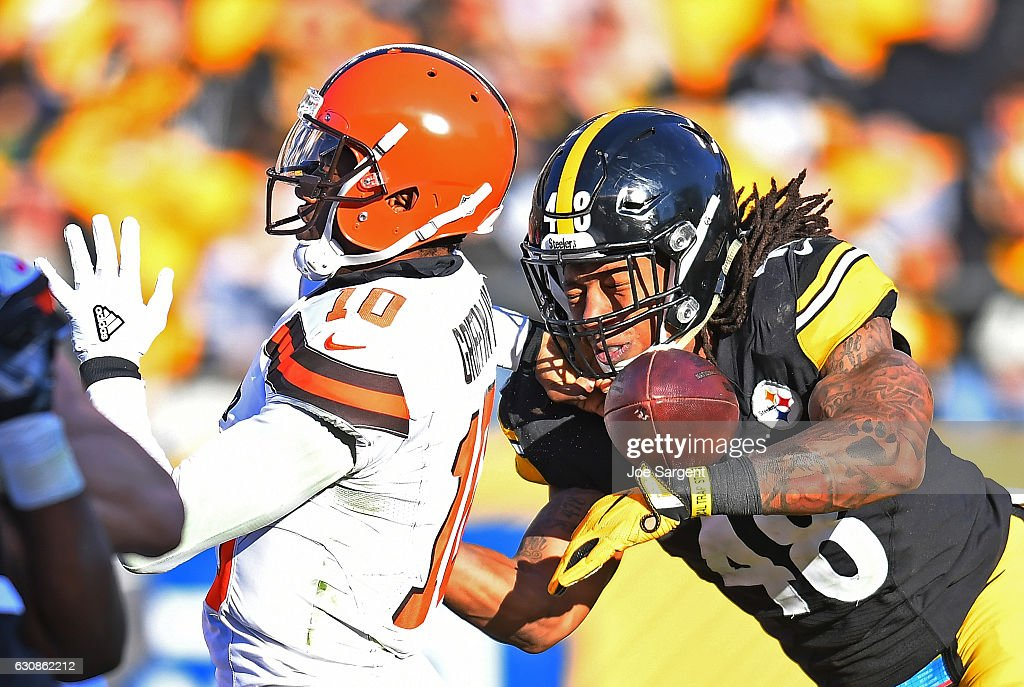Bud Dupree #48 of the Pittsburgh Steelers causes a fumble by Robert Griffin III #10 of the Cleveland Browns in the second half during the game at Heinz Field on January 1, 2017 in Pittsburgh, Pennsylvania.