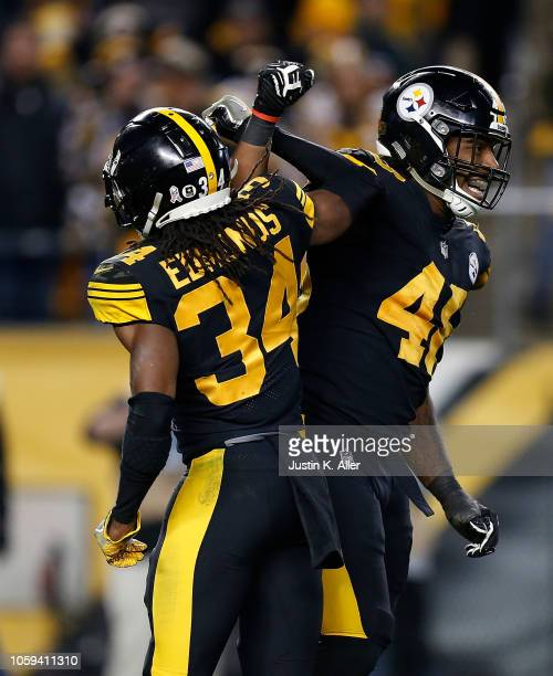 Bud Dupree of the Pittsburgh Steelers celebrates with Terrell Edmunds after a sack of Cam Newton of the Carolina Panthers during the second half in...
