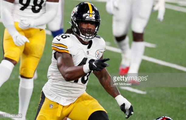 Bud Dupree of the Pittsburgh Steelers in action against the New York Giants MetLife Stadium on September 14, 2020 in East Rutherford, New Jersey. The...