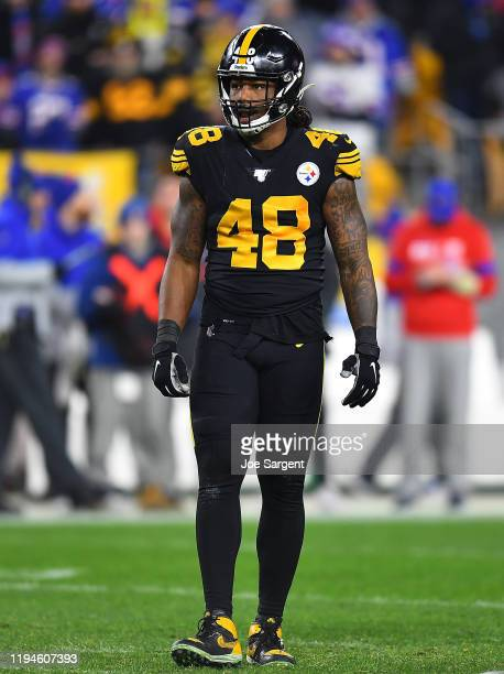 Bud Dupree of the Pittsburgh Steelers in action during the game against the Buffalo Bills at Heinz Field on December 15, 2019 in Pittsburgh,...
