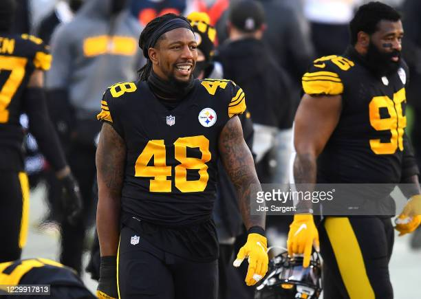 Bud Dupree of the Pittsburgh Steelers looks on during the first half against the Baltimore Ravens at Heinz Field on December 1, 2020 in Pittsburgh,...