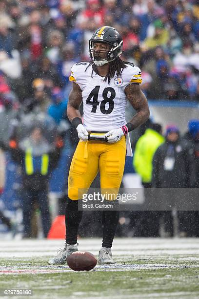 Bud Dupree of the Pittsburgh Steelers looks to the sideline during a stoppage of the game against the Buffalo Bills on December 11 2016 at New Era...