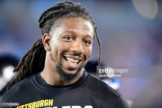 Bud Dupree of the Pittsburgh Steelers on the sideline during their preseason game against the Carolina Panthers at Bank of America Stadium on August...