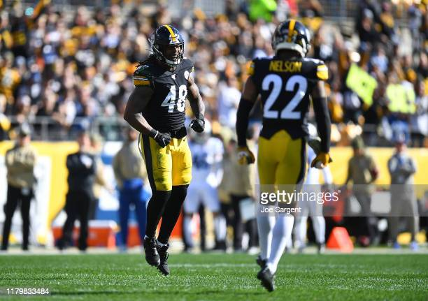 Bud Dupree of the Pittsburgh Steelers reacts after making a tackle during the first quarter against the Indianapolis Colts at Heinz Field on November...