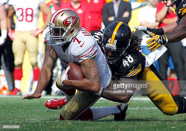 Bud Dupree of the Pittsburgh Steelers sacks Colin Kaepernick of the San Francisco 49ers in the second half during the game on September 20 2015 at...