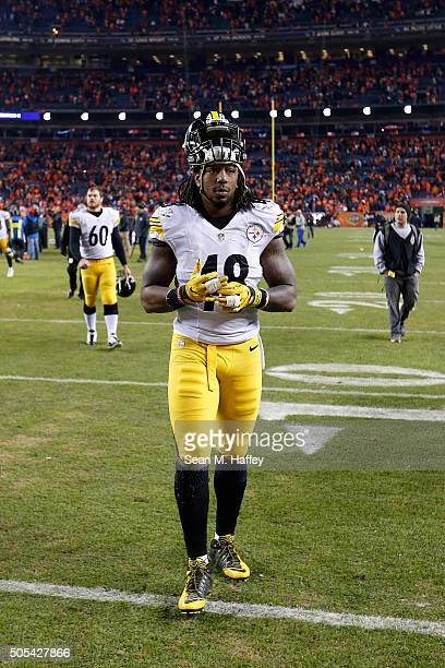 Bud Dupree of the Pittsburgh Steelers walks off the field after the AFC Divisional Playoff Game against the Denver Broncos at Sports Authority Field...