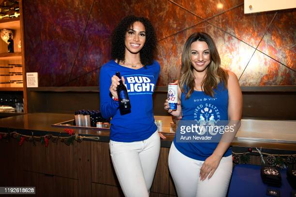 """Bud Light and Spiked Seltzer brand ambassadors are seen at """"Not So Silent Night,"""" a RADIO.COM Event, at SAP Center on December 07, 2019 in San Jose,..."""